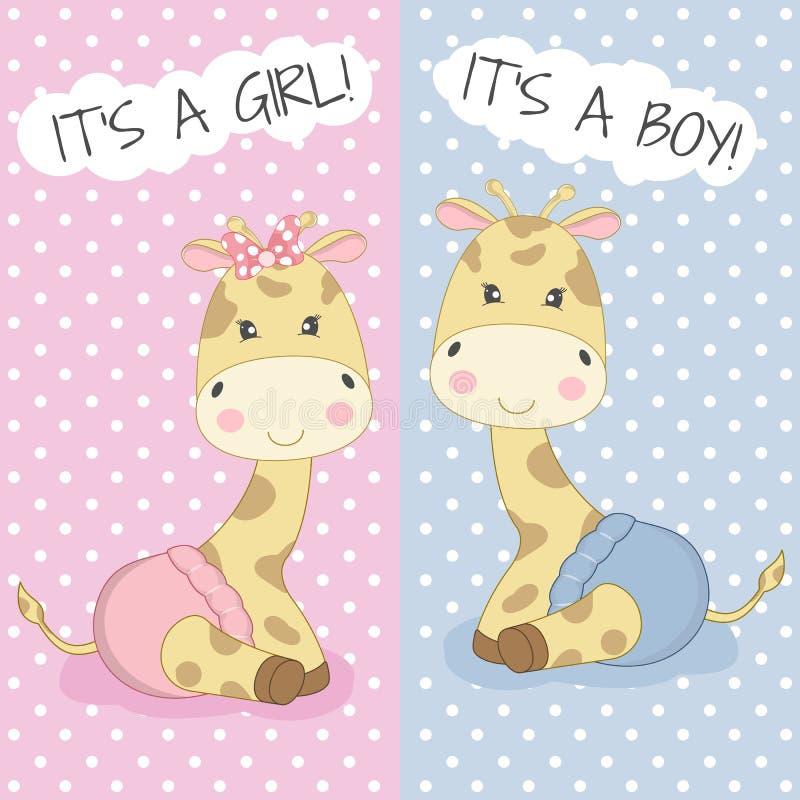 Girafes mignonnes garçon et fille de bébé de bande dessinée illustration libre de droits