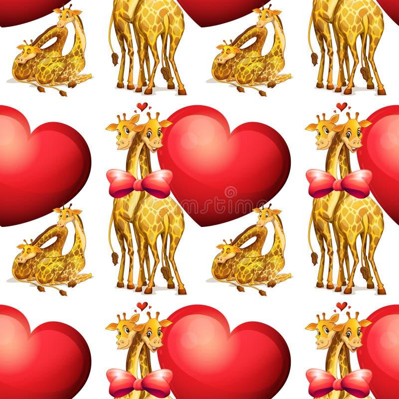 Girafes sans couture avec les coeurs géants illustration stock