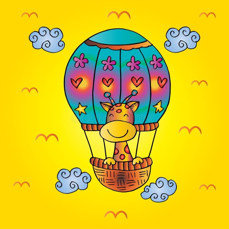 Girafes sur le ballon à air chaud illustration libre de droits