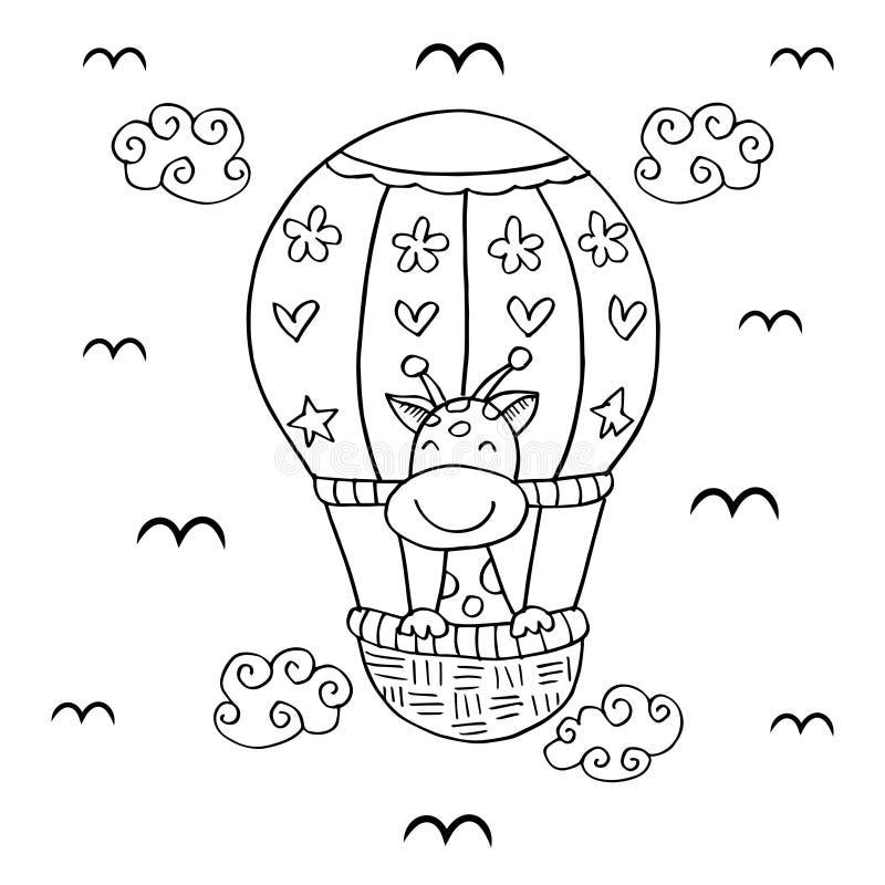 Girafes sur le ballon à air chaud illustration stock