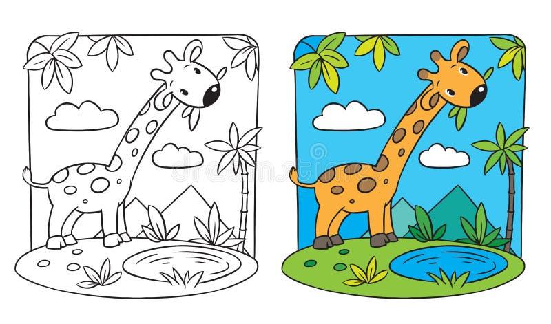 Giraff. Färgläggningbok stock illustrationer
