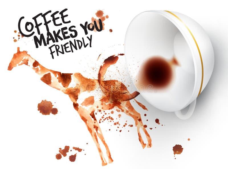 Giraff för löst kaffe för affisch stock illustrationer