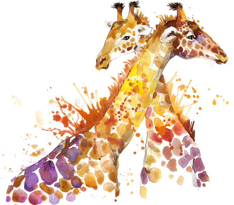 Giraff Giraffillustrationvattenfärg stock illustrationer