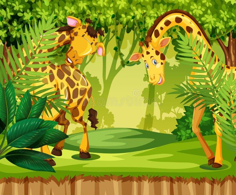 Giraff i djungeln vektor illustrationer