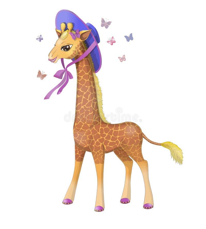 Giraff i en hatt, royaltyfri foto