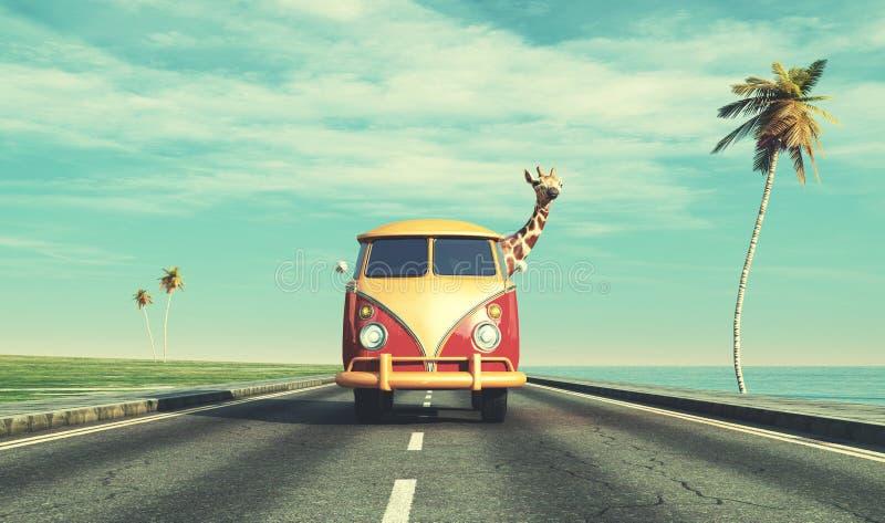 Giraff med bilen på huvudvägen royaltyfri illustrationer