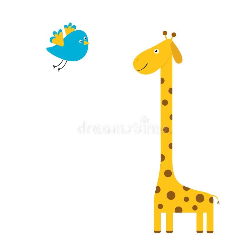 Giraff med fläcken ovanför mörkt flyghav för fågel öppna seagullvingar Zoodjur Gulligt tecknad filmtecken lång hals Samling för d royaltyfri illustrationer