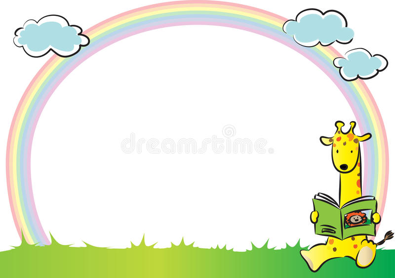 Giraff med regnbågen i bakgrunden stock illustrationer