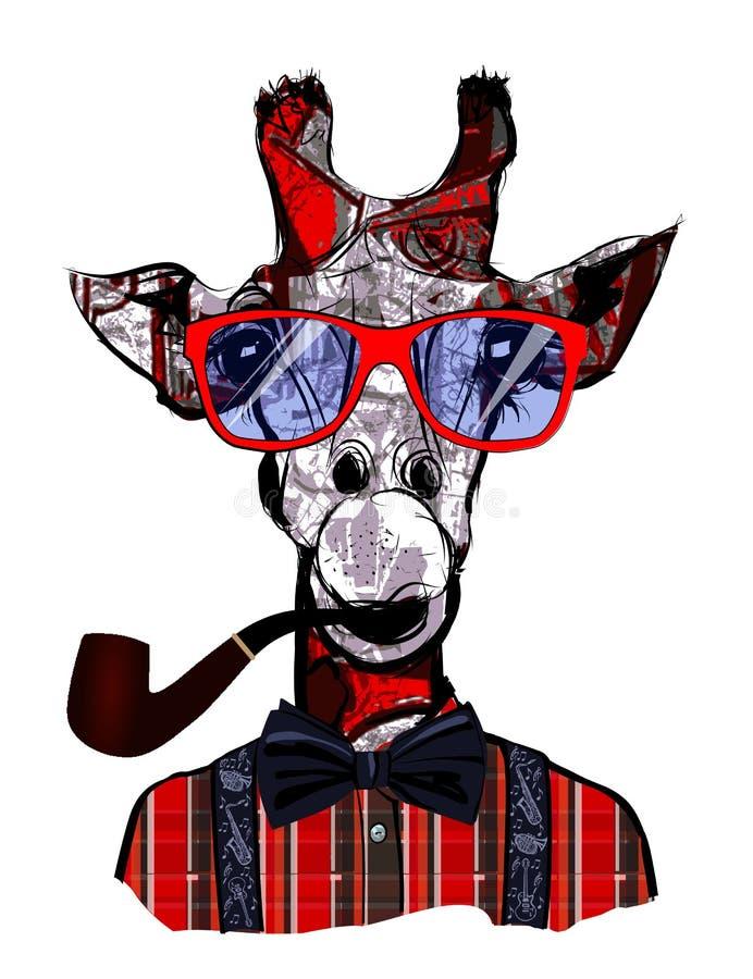 Giraff med solglasögon i hipsterstil stock illustrationer