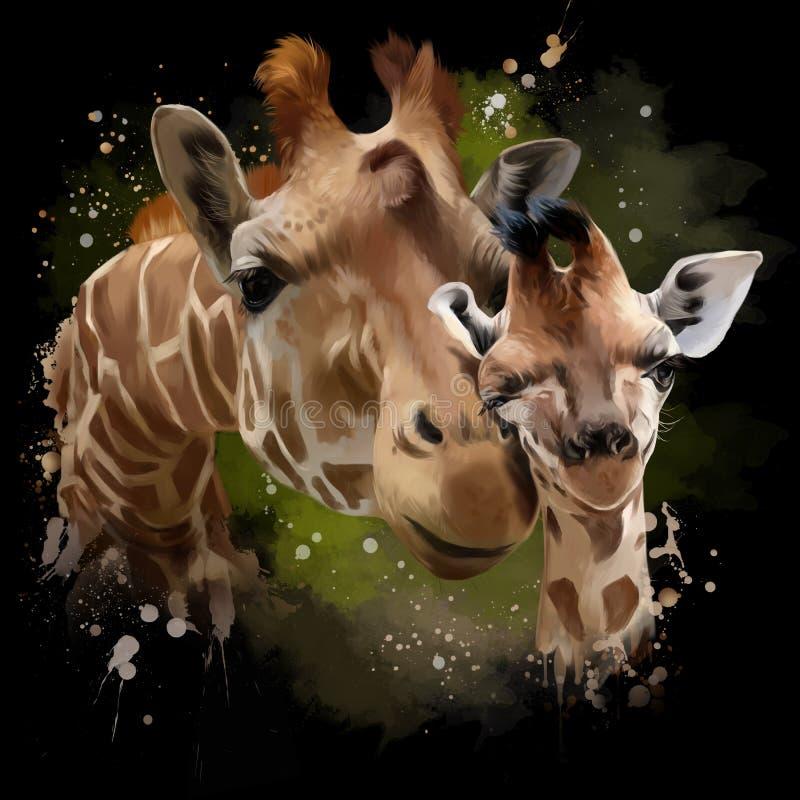 Giraff-, moder- och gröngölingvattenfärgillustration stock illustrationer