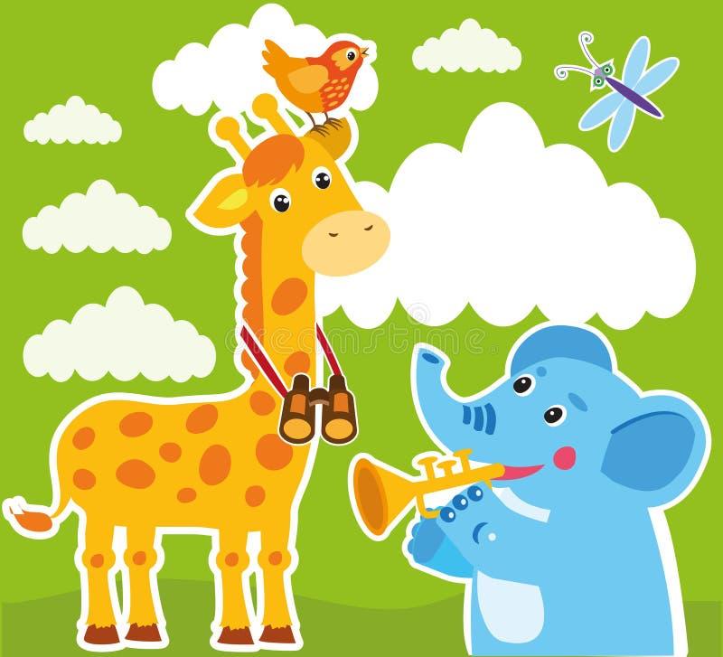 Giraff- och elefanttecknad filmvektor behandla som ett barn kortramen Giraffteckning royaltyfri illustrationer