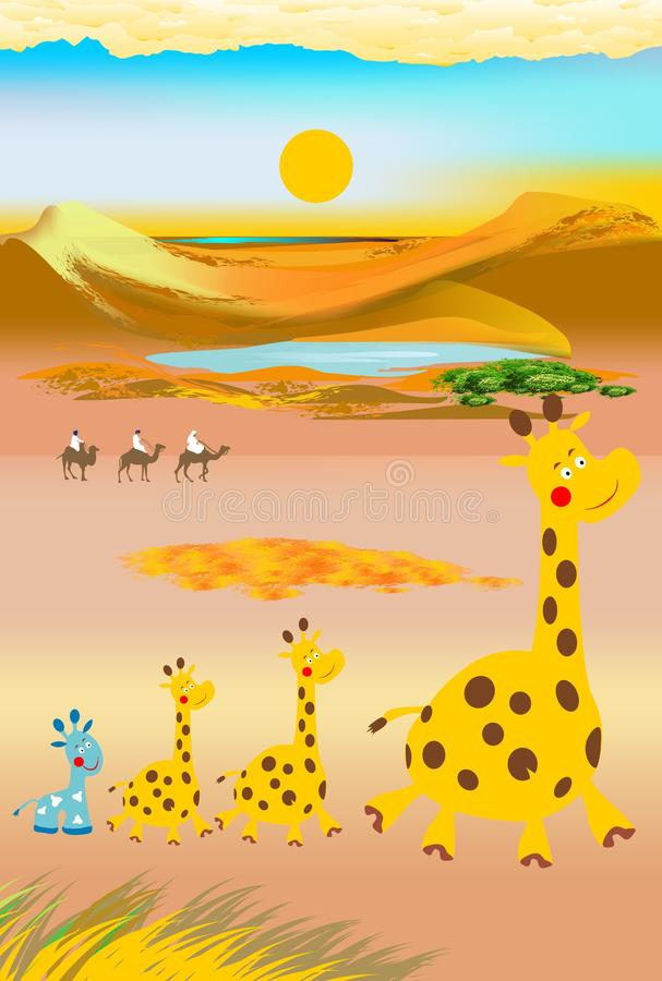 giraff och kamel vektor illustrationer