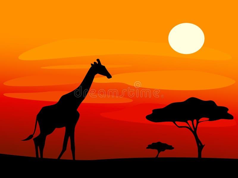 Giraff och träd under solnedgång arkivbild