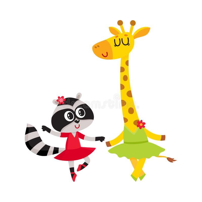 Giraff- och tvättbjörn-, valp- och kattungetecken som tillsammans dansar balett royaltyfri illustrationer