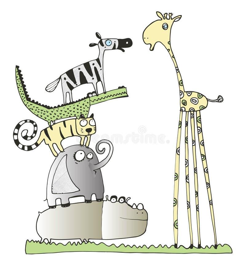 Giraff Och Vänner Arkivbild
