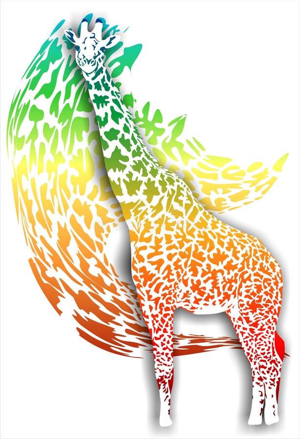 Giraff på en abstrakt bakgrund (Vektor) stock illustrationer