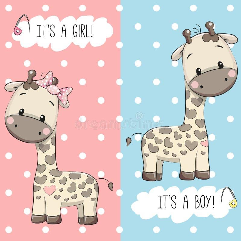 Giraff pojke och flicka royaltyfri illustrationer