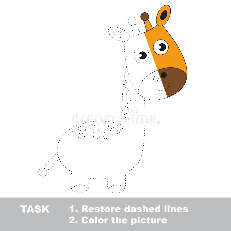 Giraff som ska färgas Vektorspårlek royaltyfri illustrationer