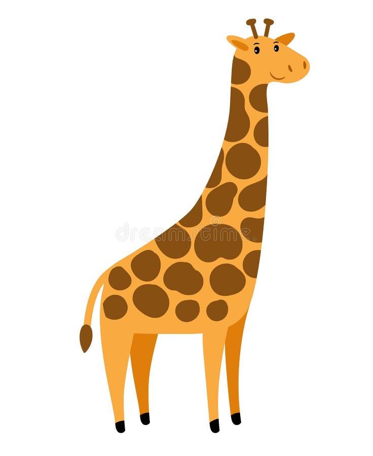 Giraff Tecken för giraff för vektortecknad film högväxt, gulligt afrikanskt djur med fläckar på vit royaltyfri illustrationer