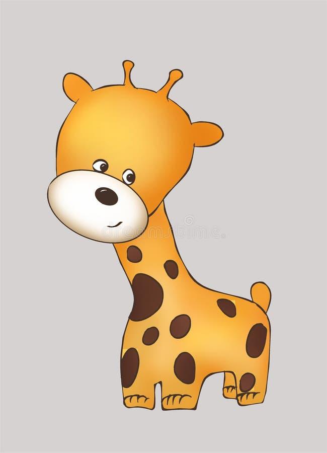 Giraffa amichevole sveglia del gattino, animale della giraffa, mondo animale, illustrazione, pittura, libro da colorare, libri pe illustrazione di stock