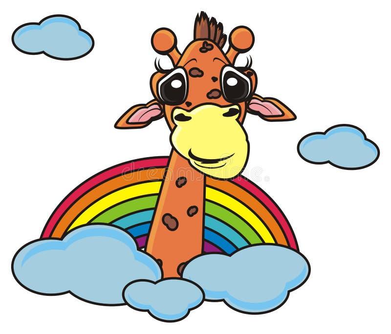 giraffa che dà una occhiata da un arcobaleno illustrazione vettoriale