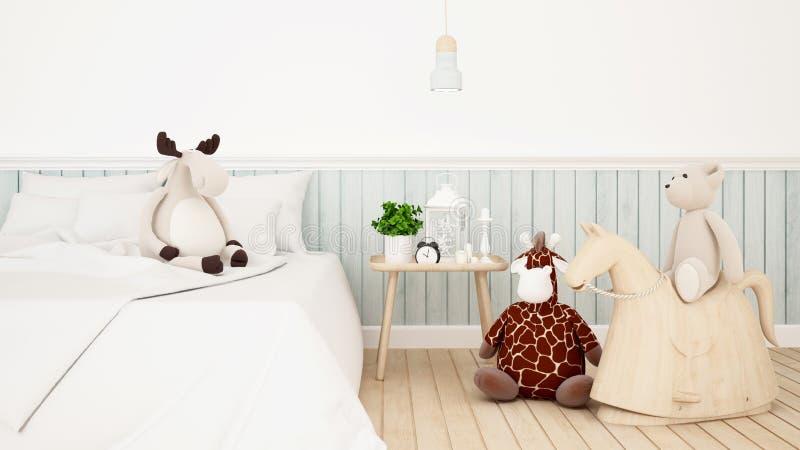 Giraffa con la bambola dell'orso e della renna nella stanza del bambino o nella rappresentazione di bedroom-3D illustrazione vettoriale