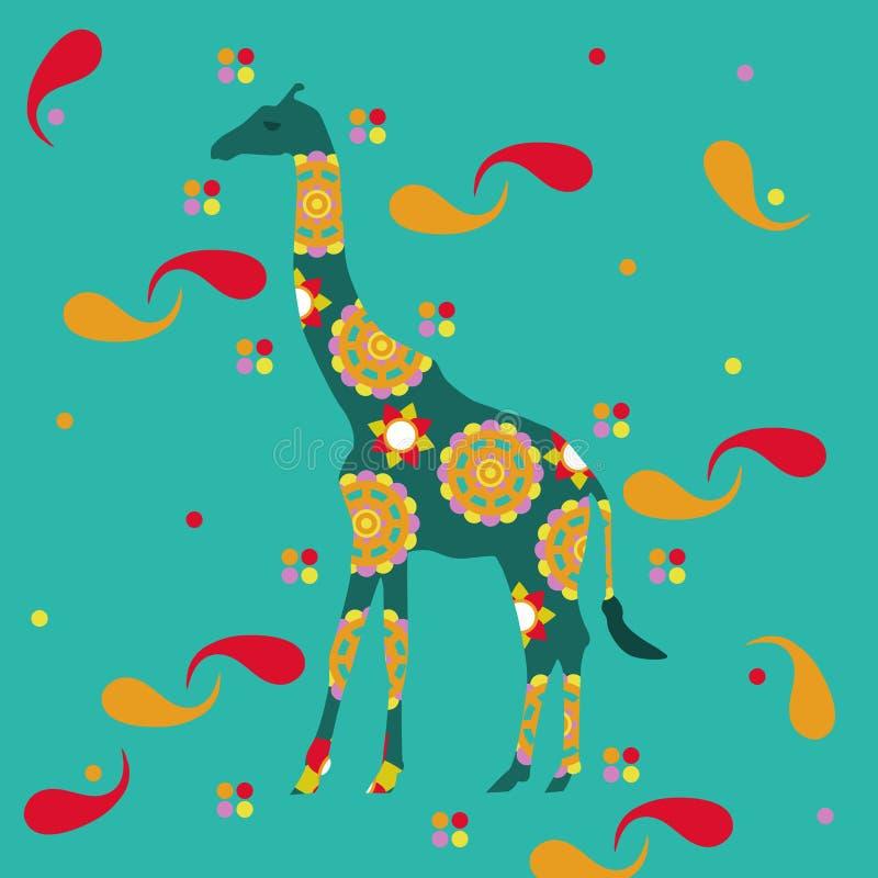 Giraffa con le progettazioni orientali fotografia stock