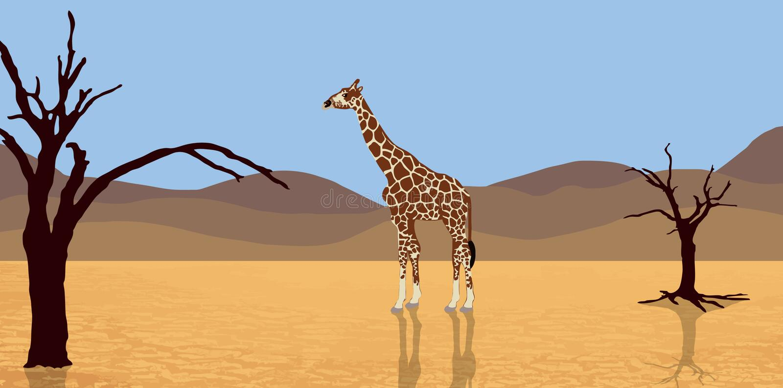 Giraffa in deserto illustrazione di stock