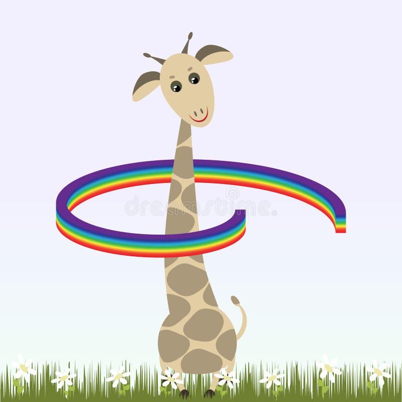 Giraffa ed arcobaleno illustrazione vettoriale