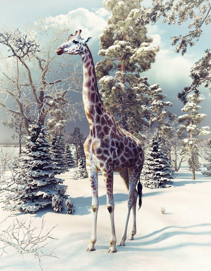 Giraffa nella foresta di inverno illustrazione di stock