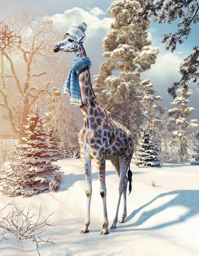 Giraffa nella foresta di inverno royalty illustrazione gratis