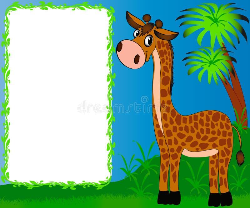 Giraffa piacevole della scuola materna della pagina illustrazione di stock