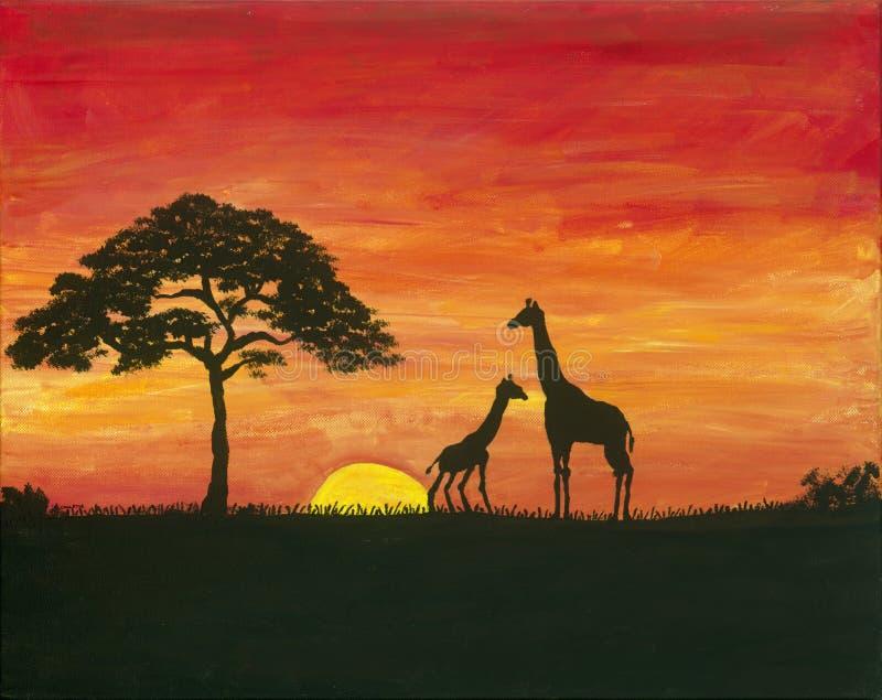 Giraffa Safari Painting immagine stock
