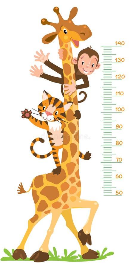 Giraffa, scimmia, tigre Parete del tester o grafico di altezza royalty illustrazione gratis