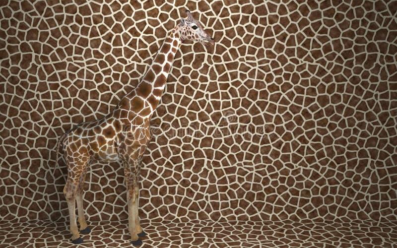 Giraffa selvatica in piedi all'interno di un'abitazione che si fonde con uno sfondo maculato con uno schema della pelle di una gi royalty illustrazione gratis