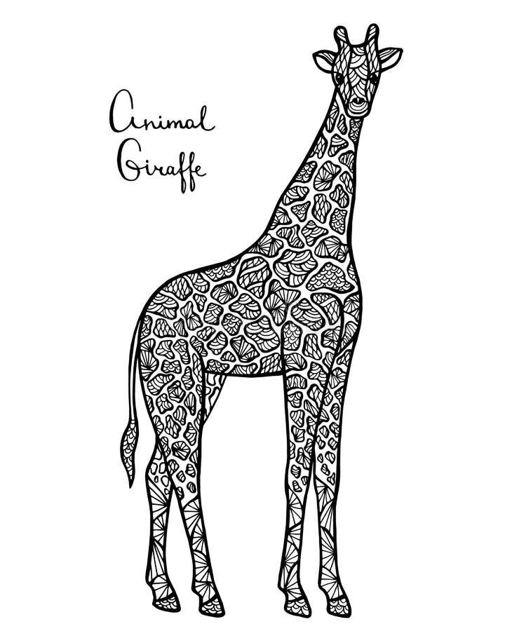 Giraffa stilizzata di vettore, zentangle isolato su fondo bianco illustrazione di stock