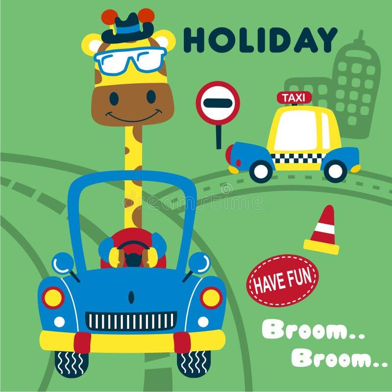 Giraffa sulla vacanza con il fumetto divertente dell'automobile, illustrazione di vettore fotografia stock libera da diritti