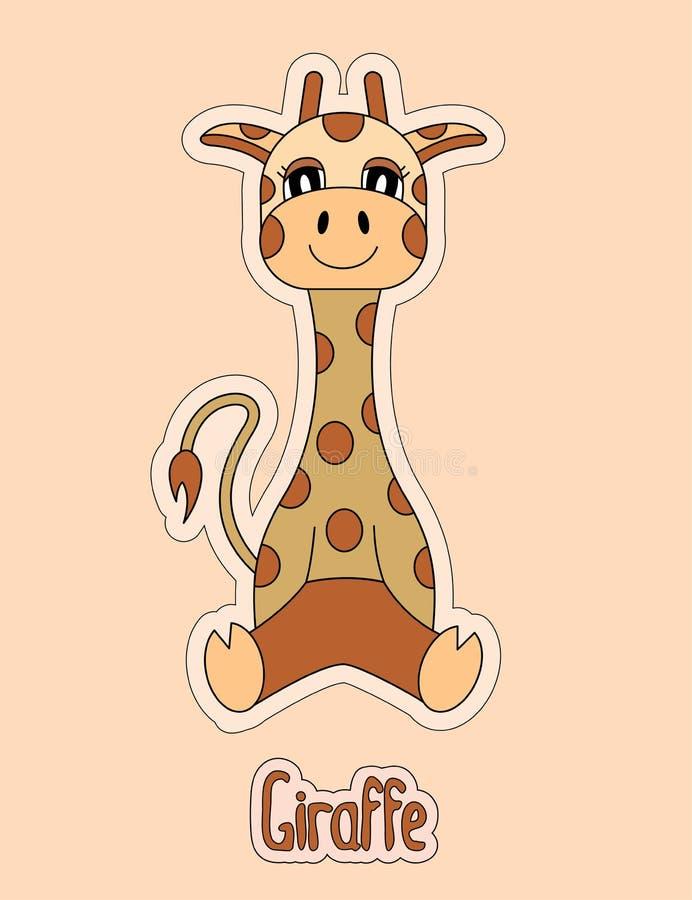 Giraffa sveglia, autoadesivo del fumetto, animale divertente, disegno del ` s del bambino, Ca illustrazione vettoriale