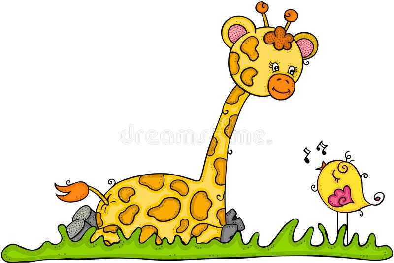 Giraffa sveglia che si siede con poco uccello che canta illustrazione di stock