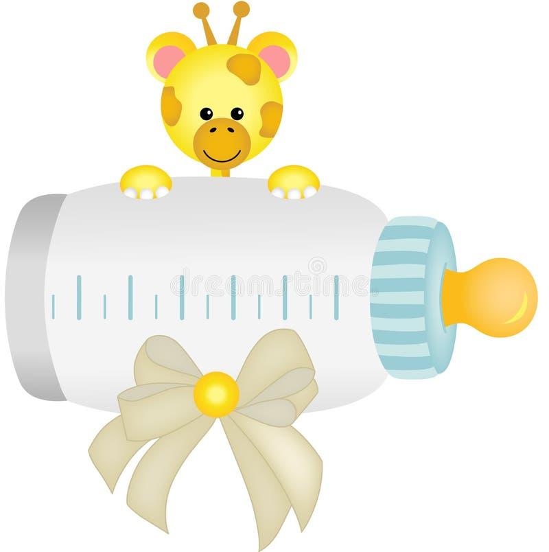 Giraffa sveglia con la bottiglia per il latte del bambino illustrazione di stock