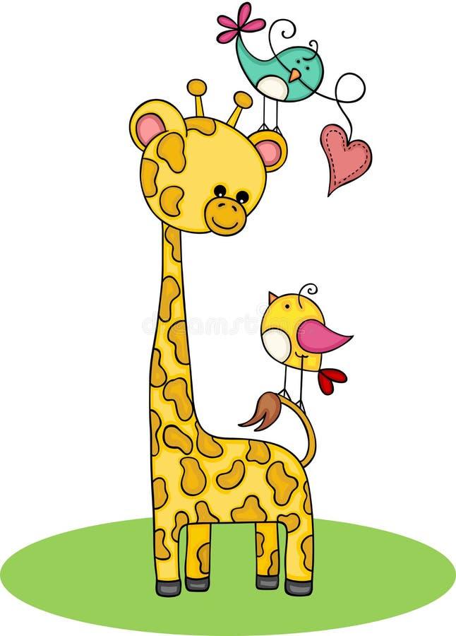 Giraffa sveglia con le coppie degli uccelli illustrazione vettoriale