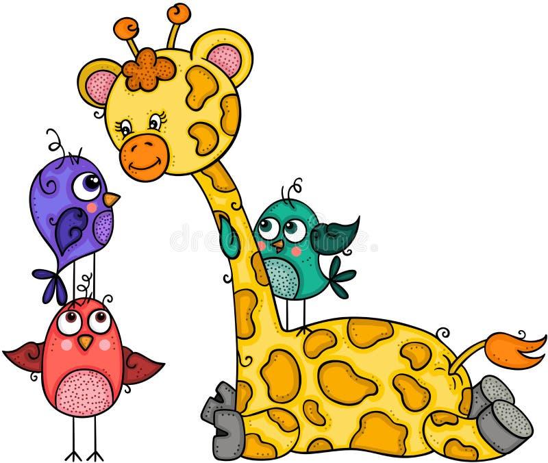 Giraffa sveglia con tre uccelli illustrazione di stock