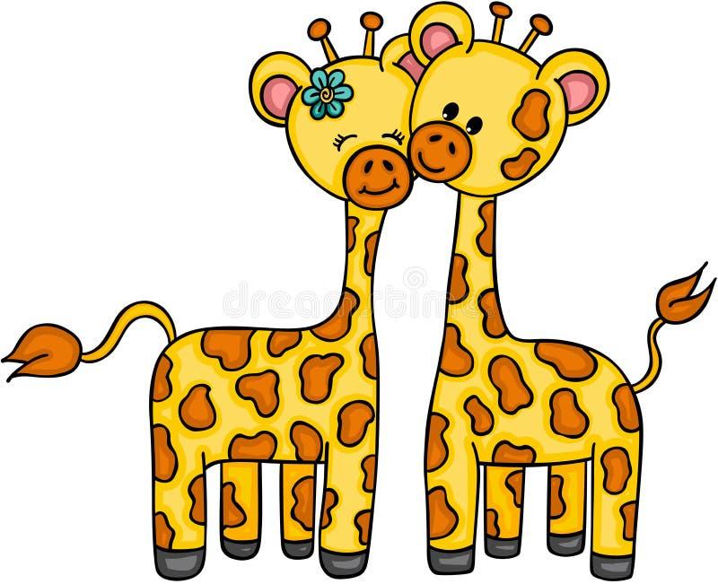 Giraffa sveglia delle coppie royalty illustrazione gratis