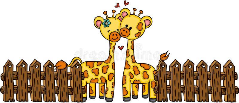 Giraffa sveglia delle coppie con il recinto di legno royalty illustrazione gratis