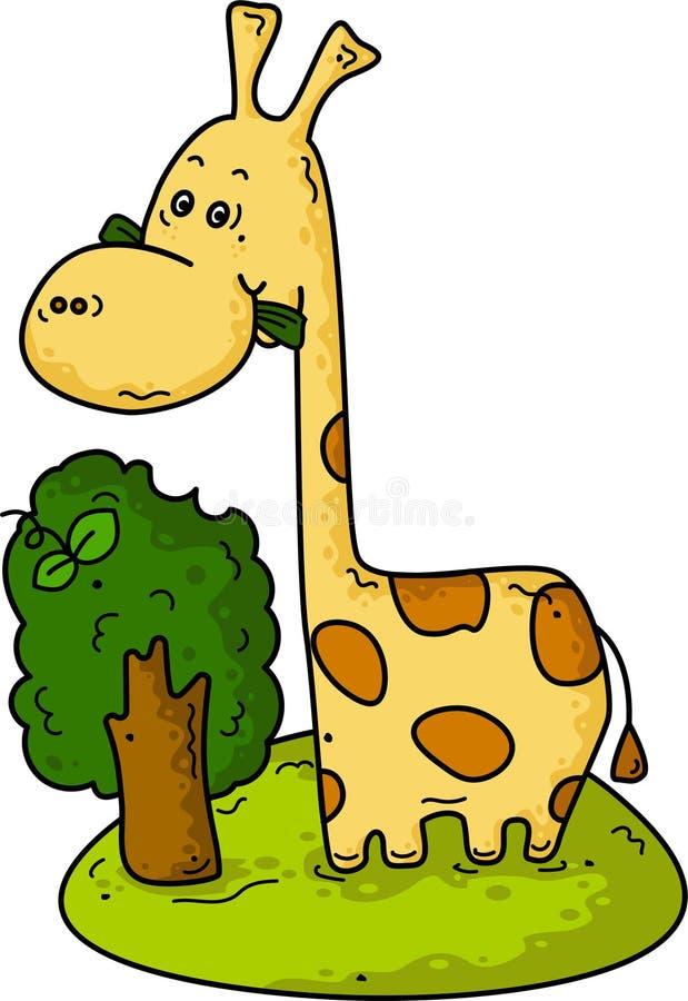 Giraffa sveglia sull'erba con l'albero royalty illustrazione gratis