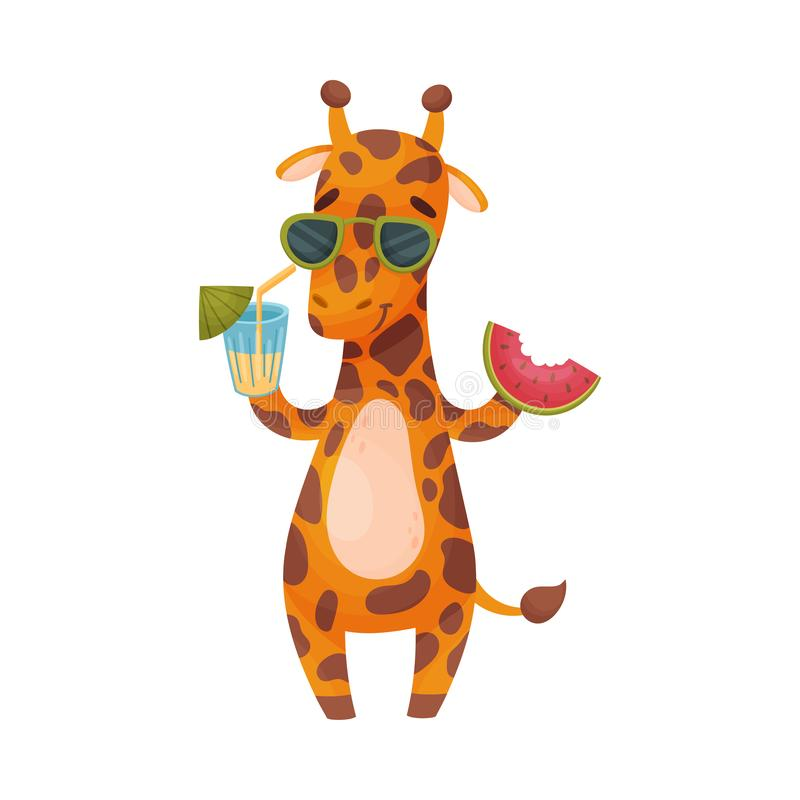 Giraffa umanizzata con un cocktail e una fetta di anguria Illustrazione di vettore su priorit? bassa bianca illustrazione di stock