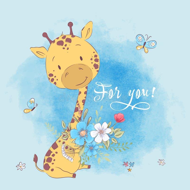 Giraffblommor och fjärilar för affisch gulliga royaltyfri illustrationer