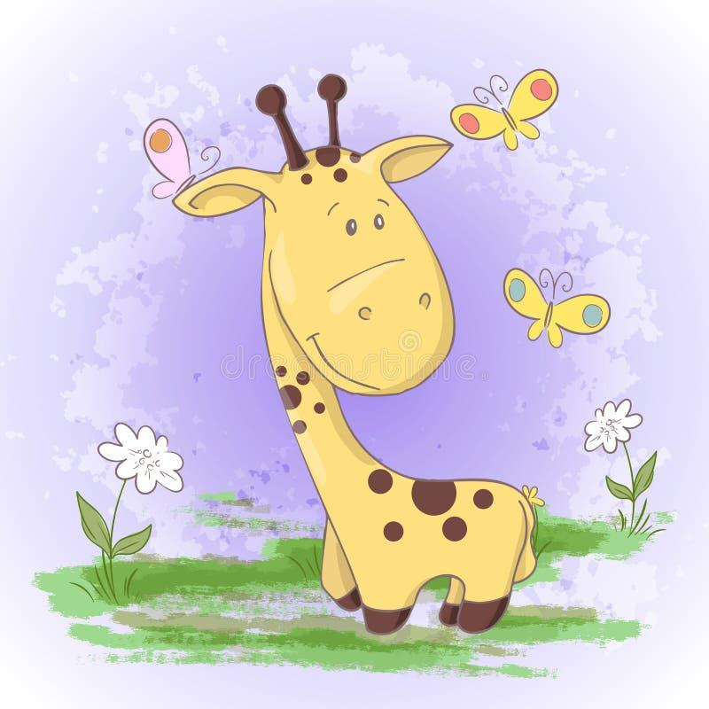 Giraffblommor och fjärilar för vykort gulliga Tecknad filmstil stock illustrationer