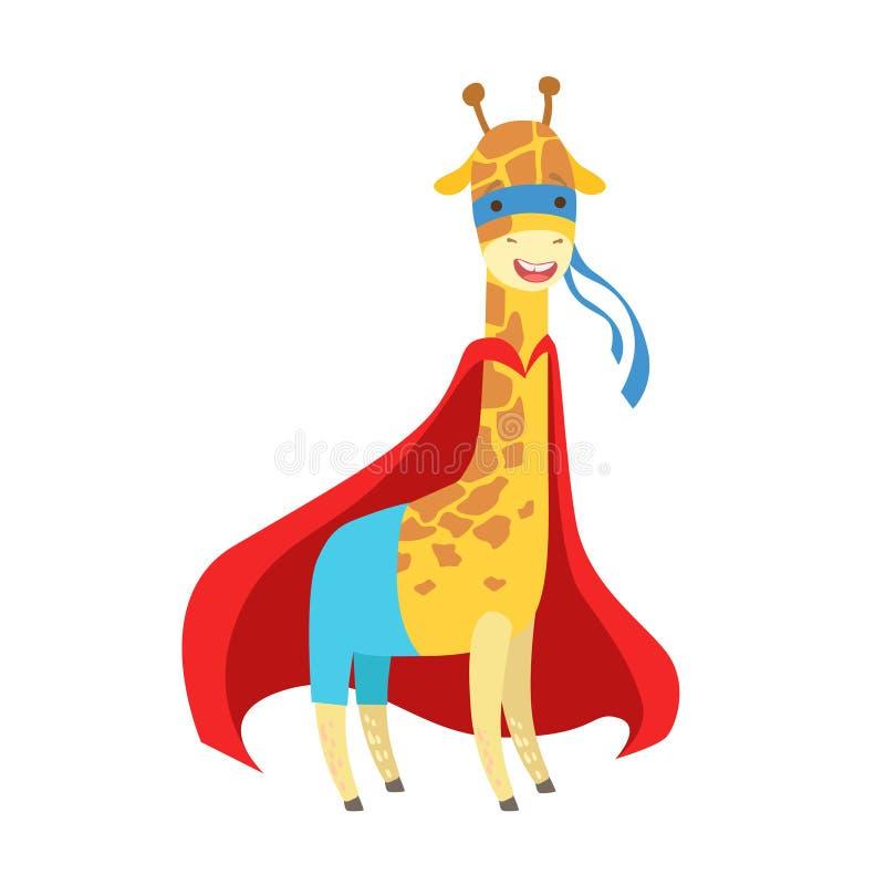 Giraffdjur som kläs som Superhero med maskerat vigilantetecken för udde ett komiker stock illustrationer
