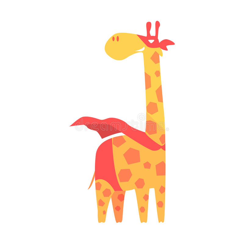 Giraffdjur som kläs som Superhero med tecken för vigilante för udde ett komiker maskerat geometriskt vektor illustrationer